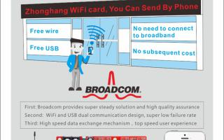 Zhonghang WiFi card, You Can Send By Phone.